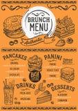 Śniadanio-lunch menu restauracja, karmowy szablon Zdjęcia Royalty Free