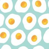 Śniadaniowy bezszwowy wzór z rozdrapanymi jajkami Fotografia Stock