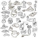 Śniadaniowy doodel set Zdjęcia Stock