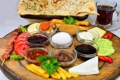 Śniadaniowy menu&Breakfast talerz zdjęcie royalty free
