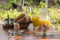 Śniadaniowy ustawianie w gospodarstwie rolnym Zdjęcia Stock