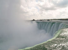 Niagara Falls. Closeup of Niagara Falls showing rising mist, U.S.A. and Canadian border Stock Photography