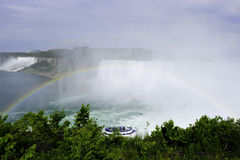 Niagara Falls. Rainbow in front of Niagara Falls with maid of the mist Royalty Free Stock Images