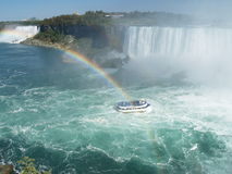 The Niagara Falls. Nice view on the Niagara Falls with maid in the mist and rainbow royalty free stock photo