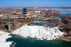 Niagara falls. American side of Niagara Falls, shot from Skylon tower on canadian side Royalty Free Stock Photography