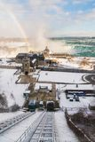 Niagara Falls in Winter with rainbow Royalty Free Stock Image