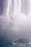Niagara Falls Aerial View. Aerial view of Horseshoe Falls, Maid of the Mist Boat and Niagara River Royalty Free Stock Photos