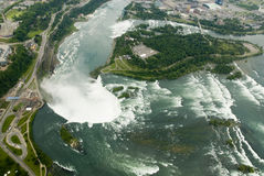 Niagara Falls from the air. Showing rapids and horse-shoe falls Royalty Free Stock Photos