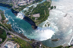 Niagara Falls American and Canadian Side. Above view from Helicopter Stock Photo