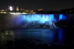 Niagara Falls - American Falls And Bridal Veil Falls By Night Stock Photos