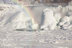 Niagara falls the american falls during winter frozen Stock Image