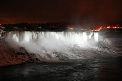Niagara Falls At Night With White Lights Stock Photo