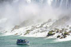 Niagara Falls with boat Royalty Free Stock Photo