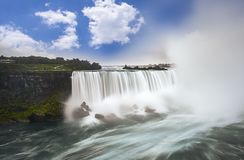 Niagara falls from Canada. Long exposure stock photos