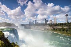 Niagara Falls Canada USA. Niagara Falls: American Falls, New York State, USA & Horseshoe Falls. Ontario, Canada Stock Photo