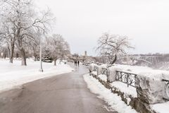 Niagara Falls, Canada, in winter with snow and ice Royalty Free Stock Images