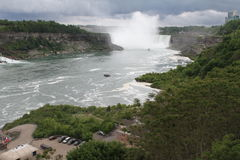 Niagara Falls from the Canadian Side. View of Niagara Falls from the Canadian Side. The thunderous falls are a spectacular site from the maid of the mist. The Royalty Free Stock Image