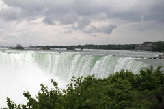 Niagara Falls from the Canadian Side. View of Niagara Falls from the Canadian Side. The thunderous falls are a spectacular site from the maid of the mist. The Stock Image
