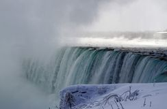 Niagara Falls cascading in winter season Royalty Free Stock Image