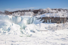Niagara falls covered with snow and ice Royalty Free Stock Photo
