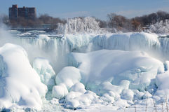 Niagara falls covered with snow and ice Royalty Free Stock Image