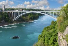 Niagara Falls - de Brug van de Regenboog Stock Afbeeldingen