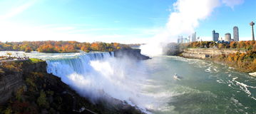 Niagara Falls Extra Wide Panorama Skyline. This wide panoramic daytime scene shows the famous American and Canadian  Falls and its raging water before it goes Royalty Free Stock Photos