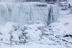 Niagara Falls Extreme Cold. The American side of Niagara falls viewed from Canada durring an extreme cold snap in the winter of 2018 Stock Photography