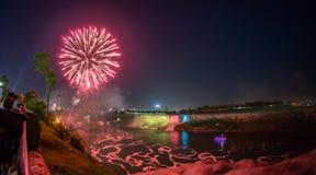 Niagara Falls Fireworks. View at Niagara Falls at night during fireworks Stock Photo