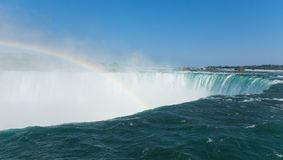 Niagara falls horseshoe close from above with rainbow , Canada , summer royalty free stock image