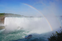 Niagara Falls - Horshoe cade Rainbow Immagini Stock