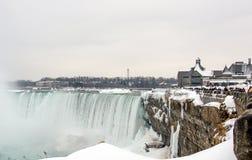 Niagara Falls im Winter, Kanadier-Fälle Lizenzfreies Stockfoto