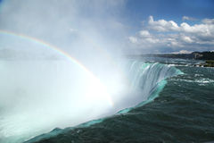 Niagara Falls Landscape and Rainbow Stock Photo