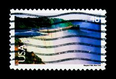 Niagara Falls, Landscapes serie, circa 1999. MOSCOW, RUSSIA - NOVEMBER 24, 2017: A stamp printed in USA shows Niagara Falls, Landscapes serie, circa 1999 Stock Photography