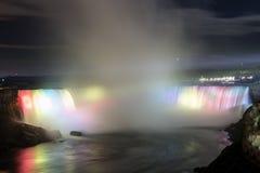 Niagara Falls light show at night Stock Images