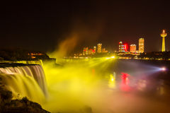 Niagara Falls light show at night, USA Royalty Free Stock Image