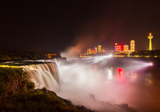 Niagara Falls light show at night, USA Royalty Free Stock Photography