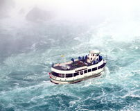 Niagara Falls Maid of the Mist. A ferry from the Maid of the Mist boat trip under the Niagara Falls Royalty Free Stock Photo
