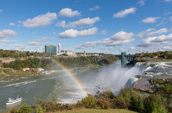 Niagara Falls. Maid of the Mist, and Rainbow Bridge in summer, New York state, USA royalty free stock photography