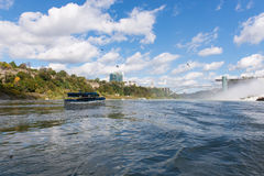 Niagara Falls. Maid of the Mist, and Rainbow Bridge in summer, New York state, USA Royalty Free Stock Image