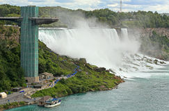 Niagara Falls and Maid of the Mist Tower. View of Niagara Falls and Maid of the Mist Tower Royalty Free Stock Photos