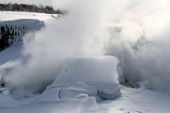 Niagara Falls mist in winter season Royalty Free Stock Photos