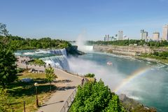NIAGARA FALLS, New York - JUNE 12,2018: People Visitors on Niagara Falls is the waterfalls New York ,USA