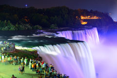 Niagara Falls at night. Niagara Falls lit at night by colorful lights royalty free stock photography