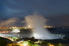 Niagara Falls at night. Niagara Falls, horseshoe and American from Canadian side Royalty Free Stock Images