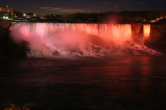 The Niagara Falls at Night. This is a night shot of the Niagara Falls royalty free stock photography