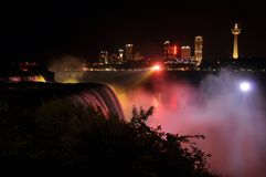 Niagara Falls at Night with beautiful colors Stock Images