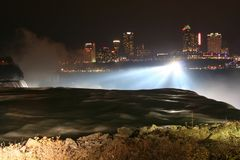 Niagara Falls at night with light up. From Canada side. Here is three waterfalls located at international border between Canada and the United States Royalty Free Stock Photography