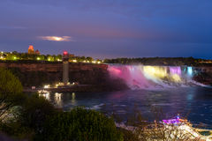 Niagara Falls at night. Showing colorful lights Royalty Free Stock Photos