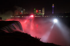 Niagara Falls at night. View of Canada from American side of Niagara Falls Royalty Free Stock Photos